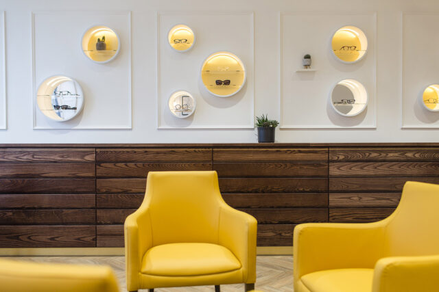 Yellow chairs and plant, Taank Optometrists